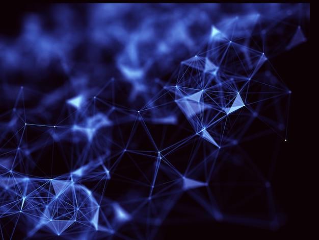 Fondo 3d de plexo bajo de poli con conexiones de red, diseño científico futurista