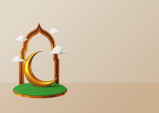 Fondo 3d de ramadán y eid mubarak con luna dorada