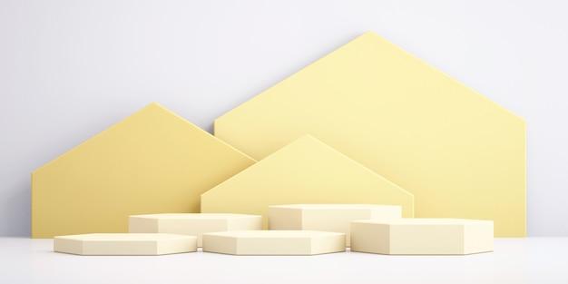 Fondo 3d para simulacro de podio amarillo para presentación de producto, fondo amarillo, renderizado 3d