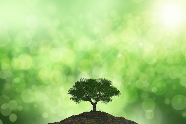 Fondo 3d del sol brillando sobre un árbol contra un fondo bokeh