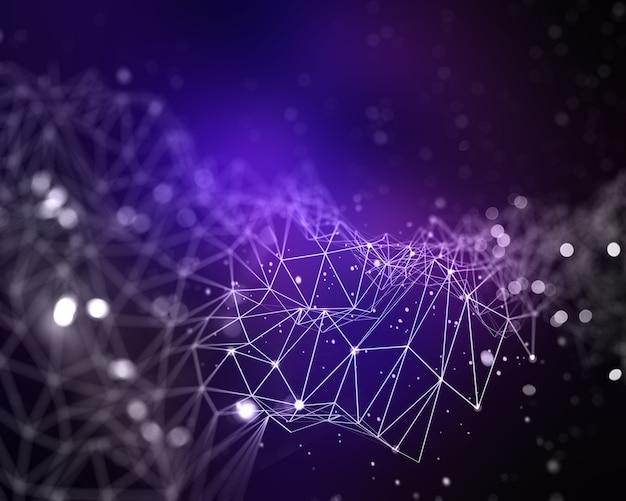 Fondo abstracto 3d de baja poli con líneas y puntos de conexión