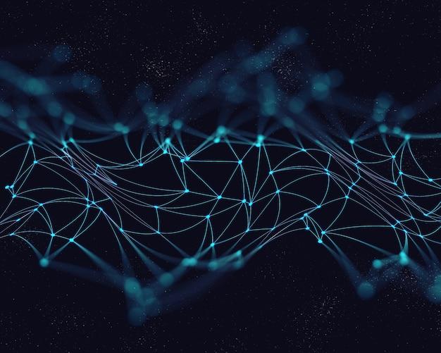 Fondo abstracto en 3d de baja poli con líneas y puntos de conexión