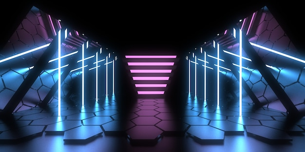Fondo abstracto 3d con luces de neón. .espacio de construcción. .3d ilustración
