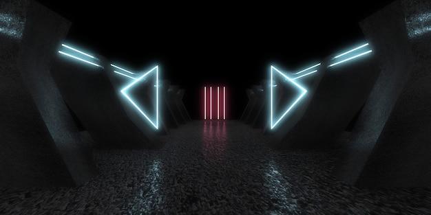 Fondo abstracto 3d con luces de neón. túnel de neón construcción espacial. .3d ilustración