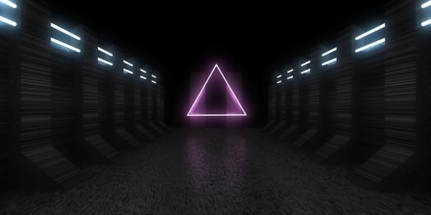 Fondo abstracto 3d con luces de neón. túnel de neón construcción espacial. ilustración 3d