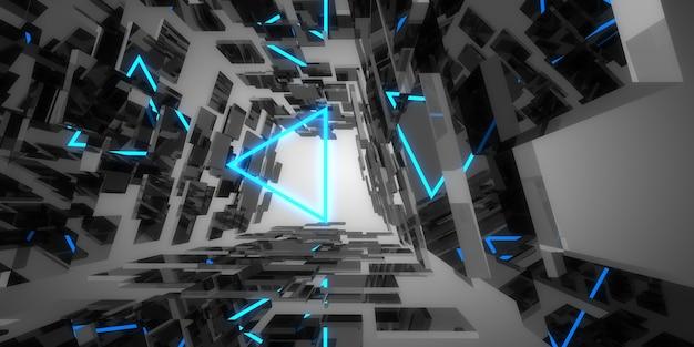 Fondo abstracto 3d con luces de neón. túnel de neón. .espacio de construcción. .3d ilustración 33
