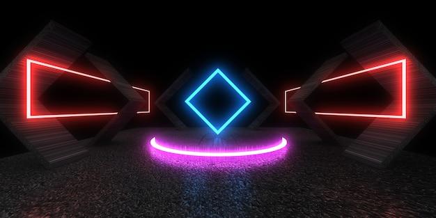 Fondo abstracto 3d con luces de neón. túnel de neón. .espacio de construcción. .3d ilustración