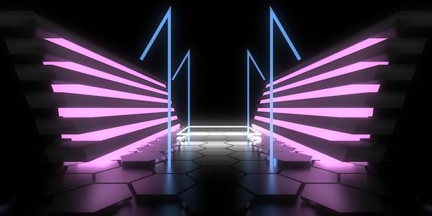 Fondo abstracto 3d con luces de neón.