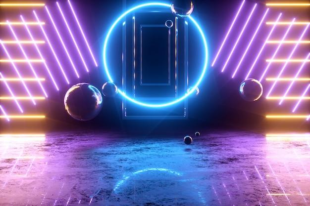 Fondo abstracto en 3d con luces de neón