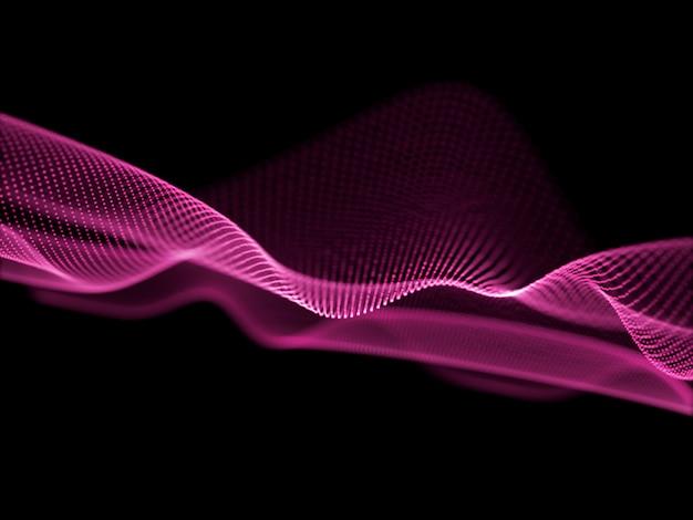 Fondo abstracto en 3d con partículas que fluyen y puntos cibernéticos. conexiones de red