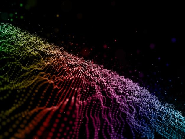 Fondo abstracto 3d de puntos cibernéticos con partículas que fluyen de color arco iris