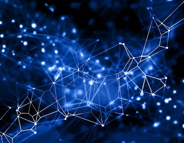 Fondo abstracto en 3d con puntos y líneas de conexión