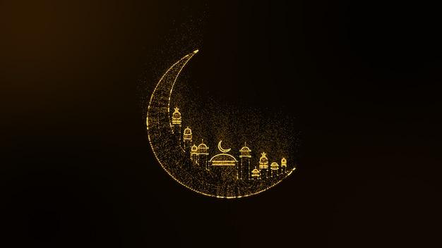 Fondo abstracto de animación de partículas de destellos brillantes de oro creando una media luna con mezquita árabe, ramadan kareem.