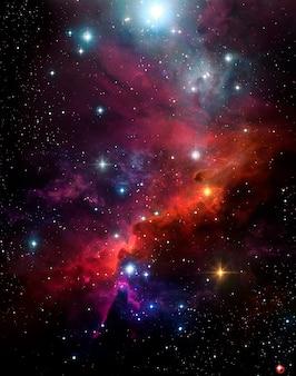 Fondo abstracto astronómico con cielo estrellado nebulosa colorida plasma exterior brillo espacio cielo
