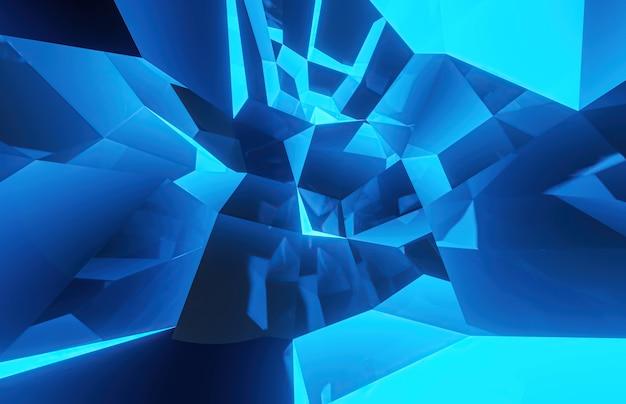 Fondo abstracto azul de formaciones cúbicas con caras metálicas. representación 3d