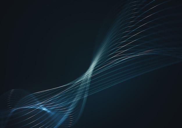 Fondo abstracto azul con líneas y puntos conectados flujo