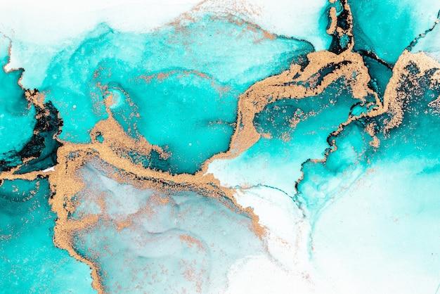 Fondo abstracto azul océano de pintura de arte de tinta líquida de mármol sobre papel.