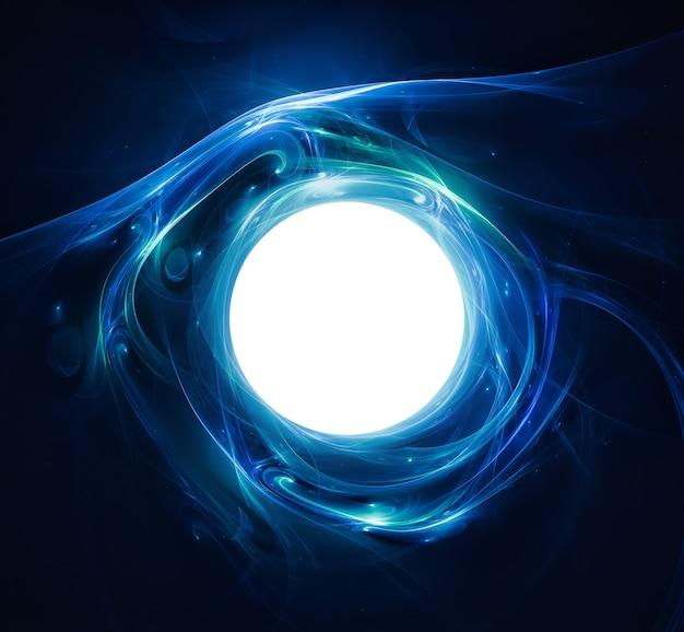 Fondo abstracto con una bola brillante en el centro con líneas luminosas.
