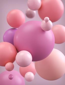 Fondo abstracto de la bola o esferas modernas en color en colores pastel, representación 3d.