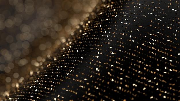 Fondo abstracto de brillo. chispas de oro y reflejos. ilustración 3d, renderizado 3d.