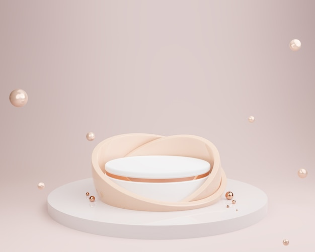 Fondo abstracto del color del tono de la tierra con el podio de la forma geométrica, maqueta de los cosméticos, representación 3d