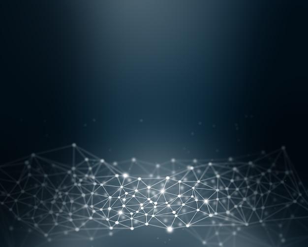 Fondo abstracto digital poli baja con líneas y puntos de conexión