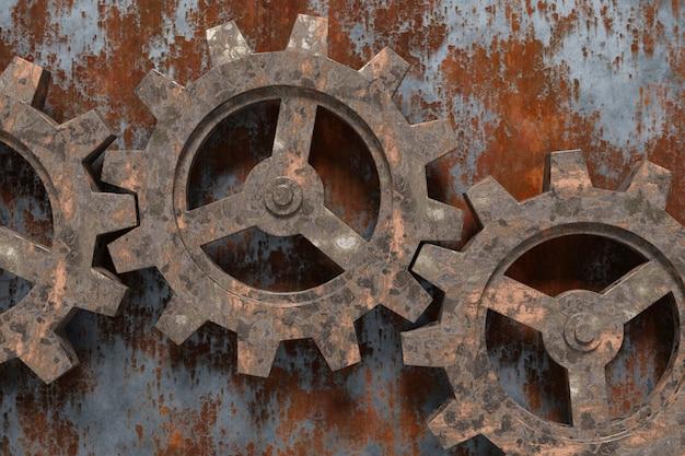 Fondo abstracto de los engranajes oxidados. representación 3d