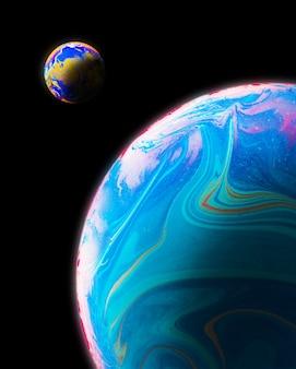 Fondo abstracto con esferas azules rosas y naranjas