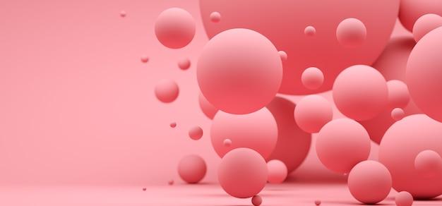 Fondo abstracto con esferas de color rosa con diferentes tamaños.