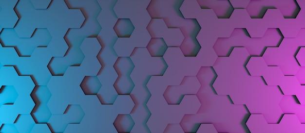 Fondo abstracto en forma de hexágonos oscuros en iluminación de neón, ilustración 3d