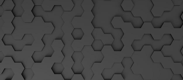 Fondo abstracto en forma de hexágonos oscuros, ilustración 3d