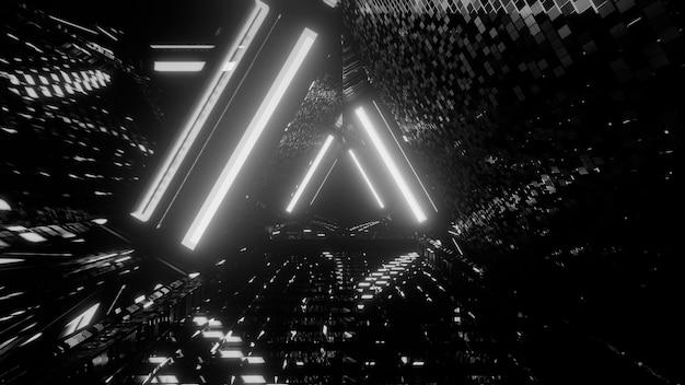 Fondo abstracto futurista en escala de grises con efectos de luz