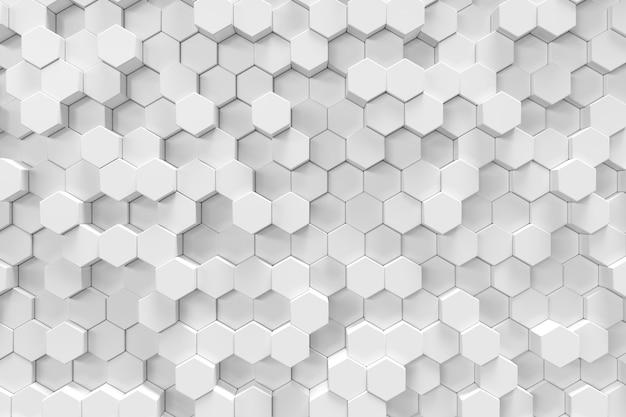 Fondo abstracto hexagonal geométrico blanco, representación 3d