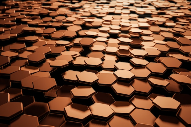 Fondo abstracto del hexágono negro con luz brillante. ilustración de renderizado 3d