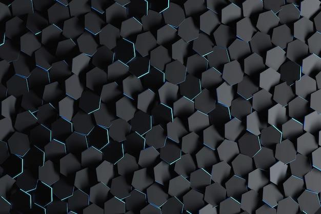Fondo abstracto con hexágonos aleatoriamente dispuestos negros.