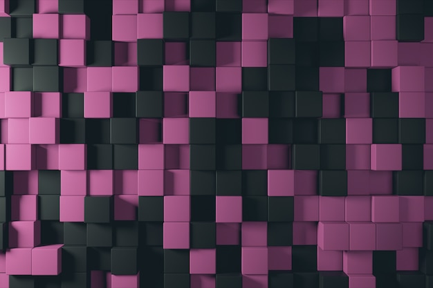 Fondo abstracto de ilustración 3d de cubos de duotono