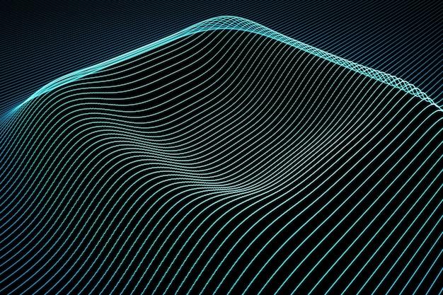 Fondo abstracto con líneas de color ondulado. la animación ondula en la superficie de las líneas de neón. ilustración 3d