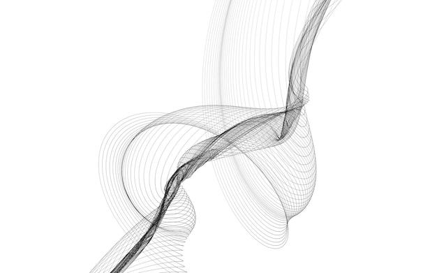 Fondo abstracto con líneas de onda monocromáticas sobre fondo blanco. fondo de tecnología moderna.