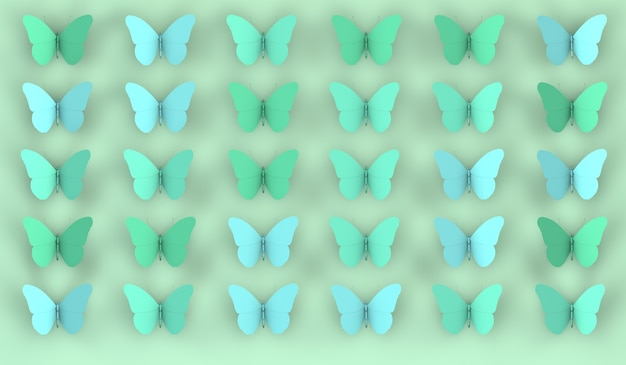 Fondo abstracto de mariposas en tonos verdes ilustración 3d