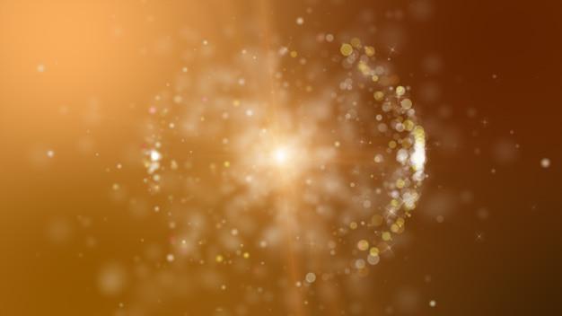Fondo abstracto marrón digital con partículas de onda brillantes y áreas