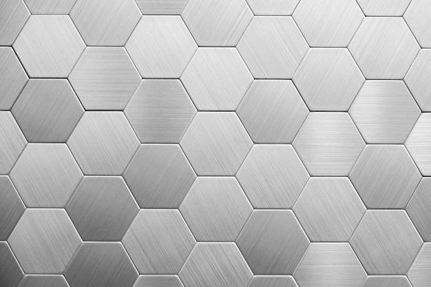 Fondo abstracto de metal plateado. hexágonos geométricos.