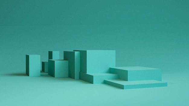 Fondo abstracto minimalista, figuras geométricas primitivas, colores pastel, render 3d.