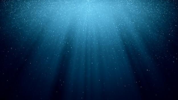 Fondo abstracto con movimiento de brillantes partículas parpadeantes sobre fondo azul con rayos de luz. ilustración 3d