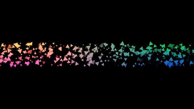 Fondo abstracto negro con onda multicolor en el centro de onda de color de triángulos
