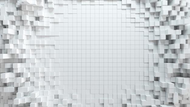 Fondo abstracto de la onda con cubos blancos en movimiento