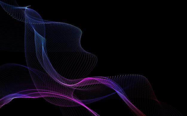 Fondo abstracto oscuro con ondas abstractas brillantes, fondo abstracto