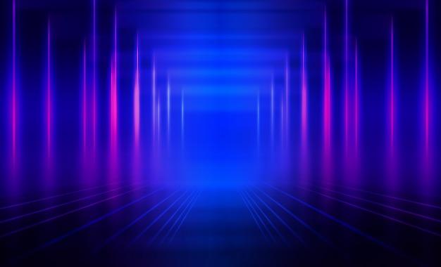 Fondo abstracto oscuro vacío fondo de la escena del espectáculo vacío. resplandor de luces de neón y figuras de neón en un escenario de concierto vacío. reflejo de luz sobre el pavimento.