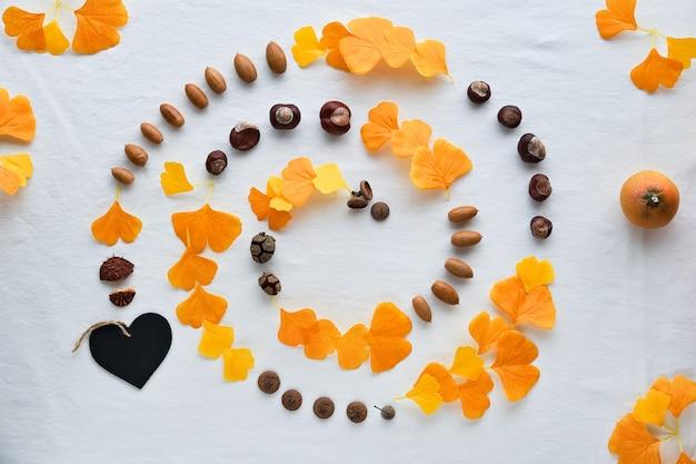 Fondo abstracto de otoño en textil. hilo en espiral elaborado con hojas de ginkgo, castañas, bellotas y calabaza.