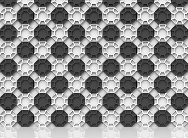 Fondo abstracto de la pared del modelo del estilo hexagonal del color del tablero de ajedrez con la reflexión en