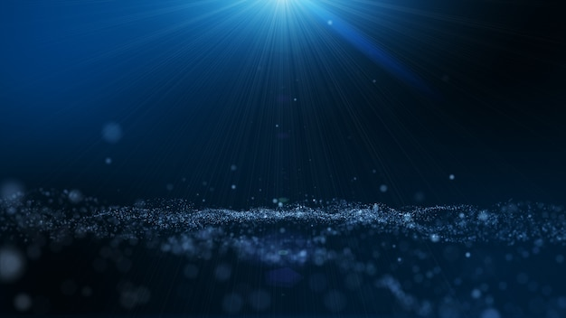 Fondo abstracto de partículas de polvo azul oscuro y resplandor, efecto de haz de rayos de luz.